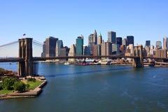 Brooklyn Bridge and lower Manhattan, New York stock photo