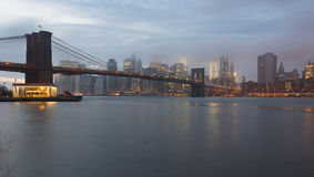 Brooklyn Bridge and Lower Manhattan, New York Stock Image