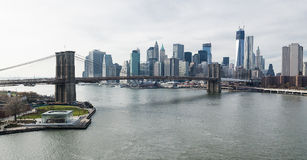 Brooklyn Bridge and Lower Manhattan overhead view. Brooklyn Bridge, The East River, Janes Carousel and the Lower Manhattan Skyline. The Freedom Tower and the Royalty Free Stock Photos