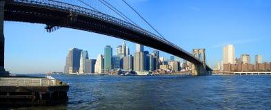 Brooklyn bridge and lower Manhattan panoramic view, New York. Panoramic view of Brooklyn bridge, lower Manhattan and financial district, New York Stock Images