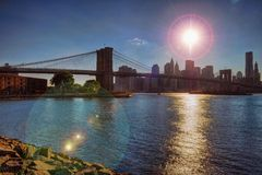 Brooklyn Bridge Lower Manhattan Silouhette Royalty Free Stock Photography