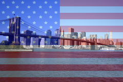 Brooklyn Bridge and Lower Manhattan skyline Stock Photography