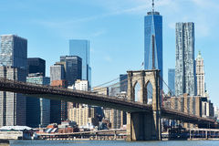 Brooklyn Bridge with lower Manhattan skyline Royalty Free Stock Image