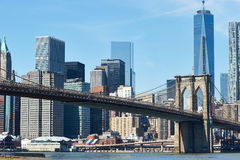 Brooklyn Bridge with lower Manhattan skyline Stock Photography