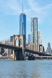 Brooklyn Bridge with lower Manhattan skyline Royalty Free Stock Images