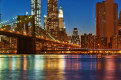 Brooklyn Bridge with lower Manhattan skyline at night. Brooklyn Bridge with lower Manhattan skyline in New York City at night Royalty Free Stock Photos