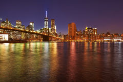 Brooklyn Bridge with lower Manhattan skyline at night. Brooklyn Bridge with lower Manhattan skyline in New York City at night Stock Image
