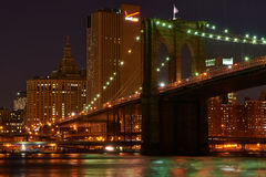 Brooklyn Bridge with lower Manhattan skyline at night. NEW YORK CITY - APRIL 2: Brooklyn Bridge with lower Manhattan skyline in New York City at night, USA Royalty Free Stock Photo