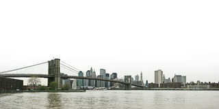 Brooklyn bridge and lower Manhattan skyline panora Royalty Free Stock Photography