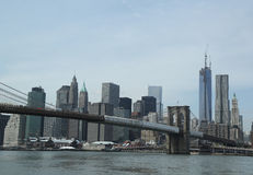 Brooklyn Bridge and Lower Manhattan skyline panorama Royalty Free Stock Photo