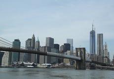 Brooklyn Bridge and Lower Manhattan skyline panorama Royalty Free Stock Photo