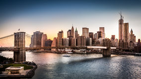 Brooklyn Bridge and the Lower Manhattan Royalty Free Stock Image