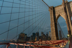 Brooklyn Bridge and lower Manhattan after sunset Stock Photo