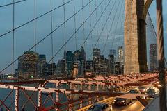 Brooklyn Bridge and lower Manhattan after sunset Royalty Free Stock Photos