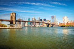 Brooklyn bridge and Manhattan Royalty Free Stock Photos