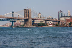 Brooklyn Bridge and The Manhattan Bridge crossing the East River in New York. Photo of Brooklyn Bridge and The Manhattan Bridge crossing the East River in New Stock Photography