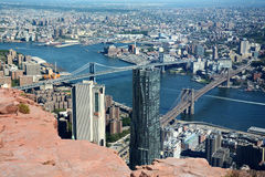 Brooklyn Bridge and Manhattan Bridge, New York City, USA, abstract view from a cliff Royalty Free Stock Images