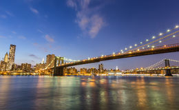 Brooklyn bridge and Manhattan bridge at night Stock Images