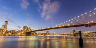 Brooklyn bridge and Manhattan bridge at night Royalty Free Stock Photography