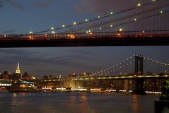 Brooklyn Bridge and Manhattan Bridge at night, New York Royalty Free Stock Photos
