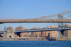 The Brooklyn Bridge and the Manhattan bridge spanning the East R Royalty Free Stock Image