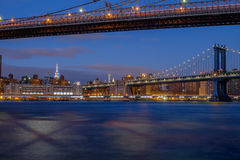 The Brooklyn Bridge and the Manhattan bridge spanning the East R Royalty Free Stock Photos