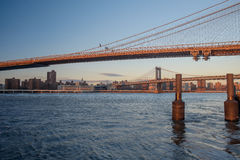 The Brooklyn Bridge and the Manhattan bridge spanning the East R Stock Images