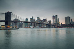 Brooklyn bridge and Manhattan at dusk Royalty Free Stock Photo