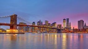 Brooklyn bridge and Manhattan at dusk. New York City Stock Image