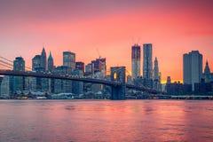 Brooklyn bridge and Manhattan at dusk Royalty Free Stock Photo