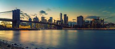 Brooklyn bridge and Manhattan at dusk Royalty Free Stock Image