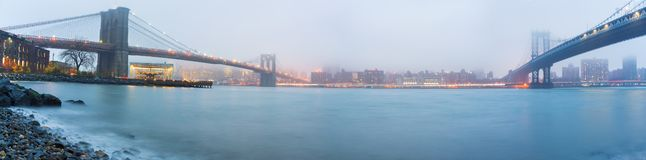 Brooklyn bridge and Manhattan bridge at dusk. Brooklyn bridge and Manhattan bridge after sunset, New York City stock photography