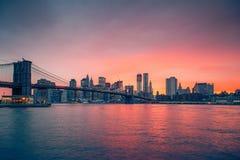 Brooklyn bridge and Manhattan at dusk Stock Photos