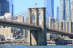 Brooklyn bridge Manhattan linia horyzontu Obraz Royalty Free