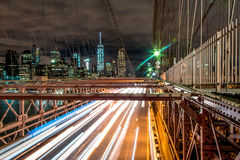 Brooklyn Bridge - Manhattan New York. Light trails on the Brooklyn bridge Stock Photography