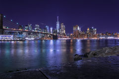 Brooklyn Bridge Manhattan New York. Long exposure of the Brooklin Bridge. View from Brooklyn to Manhattan Royalty Free Stock Photos