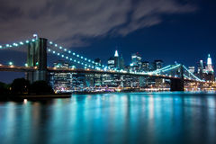 Brooklyn Bridge and Manhattan, New York Stock Photos