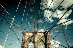 Brooklyn Bridge, Manhattan New York. Urban living concept Stock Images