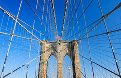 Web. Brooklyn Bridge, Manhattan - New York, USA royalty free stock photos