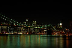 Brooklyn Bridge and Manhattan at Night Royalty Free Stock Images