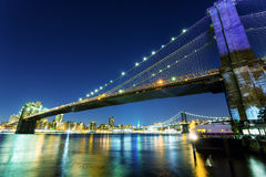 Brooklyn bridge, manhattan night view from hudson Royalty Free Stock Images