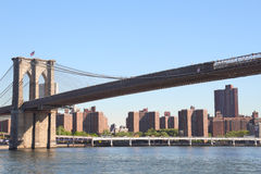 Brooklyn Bridge into Manhattan, NYC Stock Images