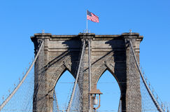 Brooklyn Bridge in Manhattan over Hudson River. Stock Photos