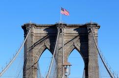 Brooklyn Bridge in Manhattan over Hudson River. Stock Photos