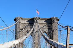 Brooklyn Bridge in Manhattan over Hudson River. Stock Images