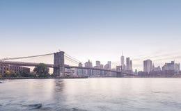 Brooklyn Bridge and Manhattan in rose quartz and serenity colors Stock Photo