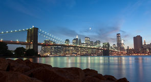 Brooklyn Bridge and Manhattan skyline Stock Photography
