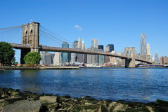 Brooklyn Bridge and Manhattan Skyline Stock Images