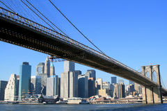 Brooklyn Bridge and Manhattan skyline Stock Photos