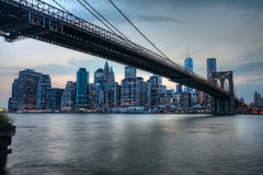 The Brooklyn Bridge with the Manhattan skyline behind Stock Image